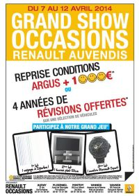 grand show occasions renault du 7 au 12 avril 2014 vannes morbihan. Black Bedroom Furniture Sets. Home Design Ideas